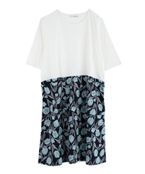 Tulip pattern switching dress [online limited product](Ecru-Free)