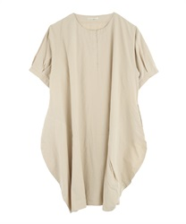 Deformed Tuck Design Big Dress(Beige-Free)
