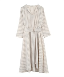 【MAX70%OFF】Asymmetrical wrap dress with slit collar(Ecru-Free)