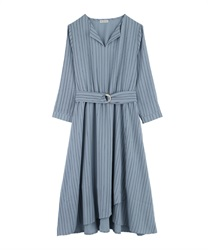 Asymmetrical wrap dress with slit collar(Blue-Free)