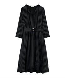 Asymmetrical wrap dress with slit collar(Black-Free)