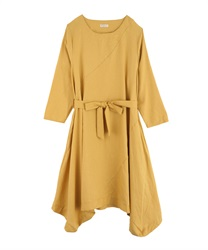 Hem switching design big silhouette dress(Yellow-Free)