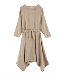【MAX70%OFF】Hem switching design big silhouette dress(Beige-Free)