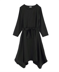 Hem switching design big silhouette dress(Black-Free)