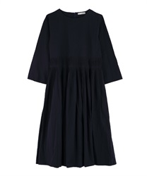Rough Pleated Dress(Navy-Free)