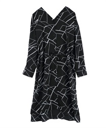 Geometric pattern shirt dress[Only at Online Shop](Black-Free)