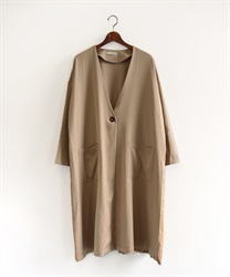 Back pleated coat(Beige-Free)