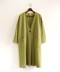 Back pleated coat(Yellow green-Free)