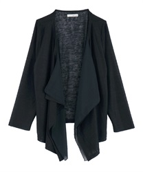 Slub Cut Draped Cardigan(Navy-Free)