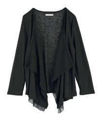 Slub Cut Draped Cardigan(Black-Free)