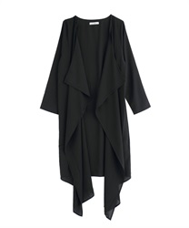 Drape long cardigan(Black-Free)