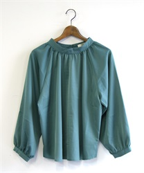 Gather volume blouse(Blue green-Free)