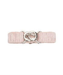 Rubber belt with satin gathers(Pale pink-M)