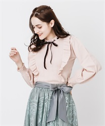 Frilled volume sleeve knit(Pale pink-Free)