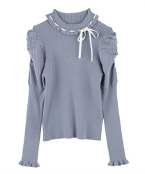 Mutton Sleeved Turtleneck Knit Pullover(Saxe blue-Free)