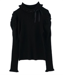 Mutton Sleeved Turtleneck Knit Pullover(Black-Free)