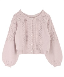 Ribbon Embroidery Openwork Knit Cardigan(Pale pink-Free)