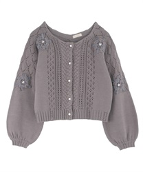 Ribbon Embroidery Openwork Knit Cardigan(Grey-Free)