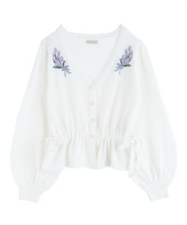 Knit cardigan with tulip embroidery(Ecru-Free)