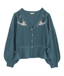Partition embroidered cardigan(Green-Free)