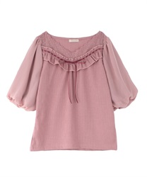 Lace design pullover(DarkPink-Free)