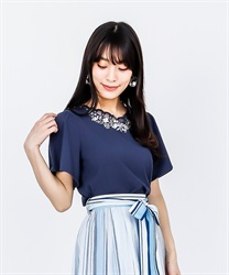 Flower Embroidery Scallop Lace PO(Navy-Free)
