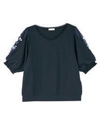 【2Buy20%OFF】Sleeve Embroidery Pullover(Navy-Free)
