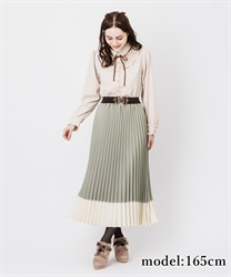 Bicolor pleated skirt(Green-Free)