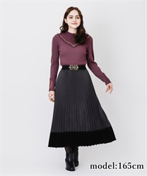 Bicolor pleated skirt(Chachol-Free)