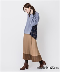 Bicolor pleated skirt(Camel-Free)