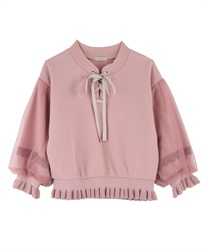 Lace-up pullover(Pale pink-Free)