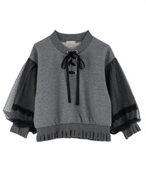 Lace-up pullover(Heather grey-Free)