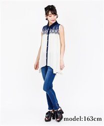 Yoke Embroidery irregular hem Tunic(Ecru-Free)