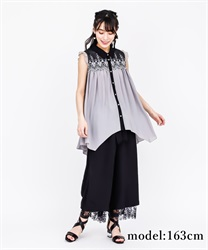 Yoke Embroidery irregular hem Tunic(Grey-Free)