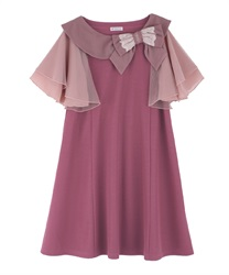 Ribbon Collar Cut Tunic(DarkPink-Free)