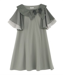Ribbon Collar Cut Tunic(Khaki-Free)