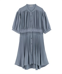 Waist Lace Pleated Shirt(Saxe blue-Free)