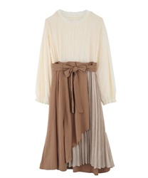 Raffle frills Docking dress(Camel-Free)