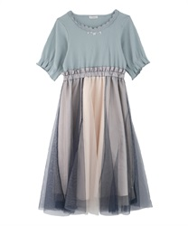 【Uniform price】Tulle Trimmed Docking Dress(Saxe blue-Free)
