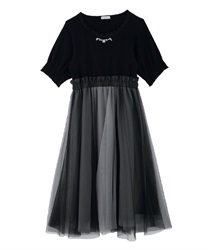 【Uniform price】Tulle Trimmed Docking Dress(Black-Free)