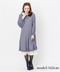【10%OFF】Rose lace knit dress(Blue-Free)