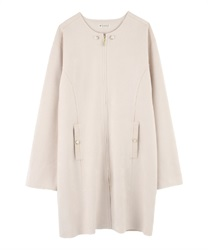 Collarless suede coat(Beige-Free)