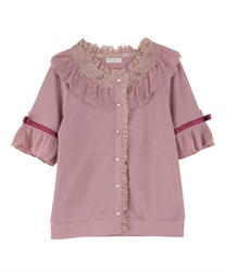 Sheer Rose Lace Cut Cardigan(Pale pink-Free)
