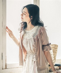 Sheer Rose Lace Cut Cardigan(Beige-Free)
