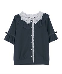 Sheer Rose Lace Cut Cardigan(Navy-Free)