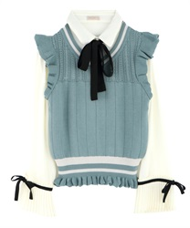 Pleated-Hem Sleeve Blouse with Knit Vest(Ecru-Free)