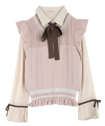 Pleated-Hem Sleeve Blouse with Knit Vest(Beige-Free)