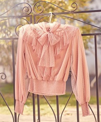 【2Buy20%OFF】Dot tulle blouse(Pale pink-Free)