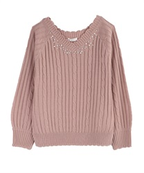 V-Neck Knit with Pearl and Beads Decoration(Pale pink-Free)