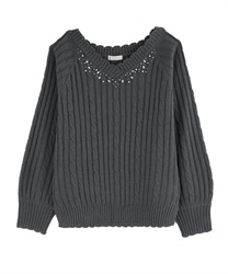 V-Neck Knit with Pearl and Beads Decoration(Grey-Free)